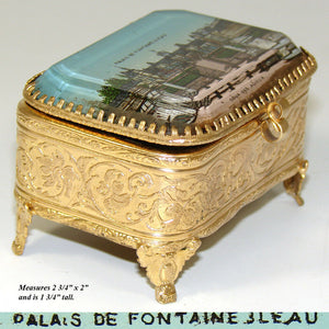 Antique French Gilt Ormolu Jewelry Box, Ring Casket, Eglomise: Fontainebleau