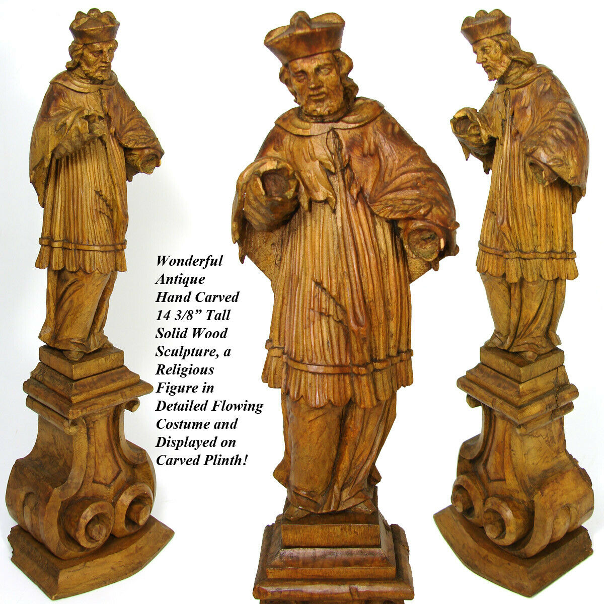 "Lg Antique Carved Wood 14.5"" Black Forest Style Religious Sculpture, Cardinal ?"