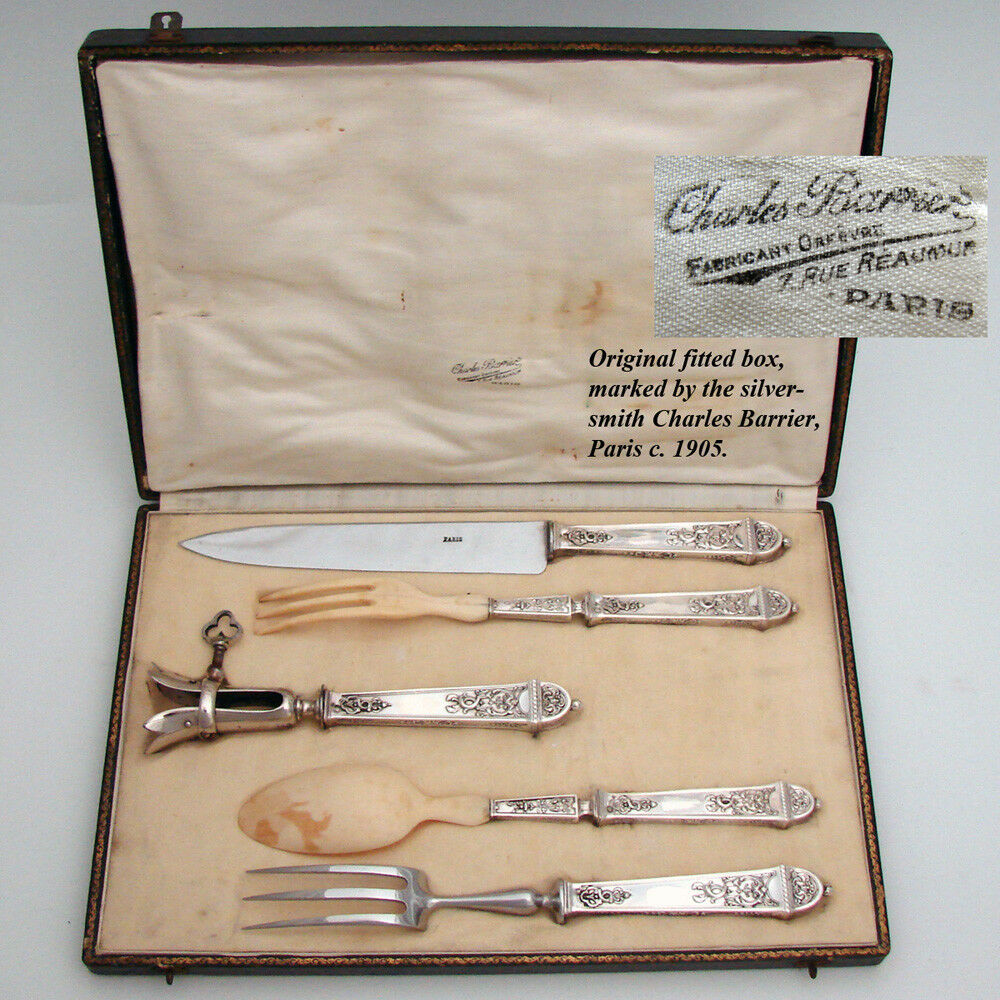 Antique French Empire Style Sterling Silver 5pc Serving Implement Set, Orig. Box