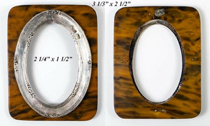 Antique English Sterling Silver Miniature Frame, Faux Shell Backing, c.1886