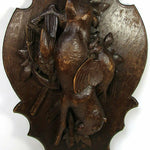 "Antique Black Forest 27.5"" Game Plaque, Rabbit, 2 Grouse, Rifle, Fruits of Hunt"