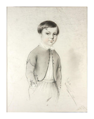 "Exceptional Antique Pencil Drawing, Portrait of a Boy, 14x11"" Frame, Signed 1847"