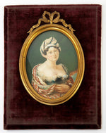Fine Antique French Portrait Miniature, Fashion & Exotic, Low Bodice, LG Frame