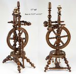 "Superb Antique Spinning Wheel, 12"" Tall, for Doll House or Apprentice Made, L@@K"