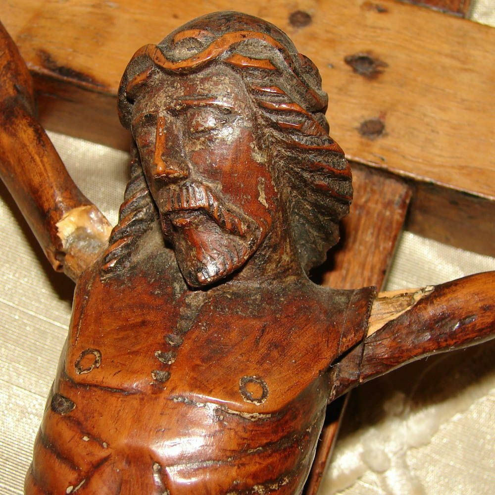 "Antique Carved Wood Religious Sculpture, Medieval Style Christ Corpus, 17"" Cross"