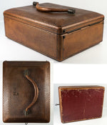 Lovely Antique Victorian Era Tooled Leather Travel Vanity Case, Full of Tools +