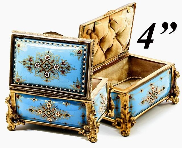 Celeste Blue! Antique TAHAN, Paris, French Kiln-fired Enamel Jewelry Casket, Box