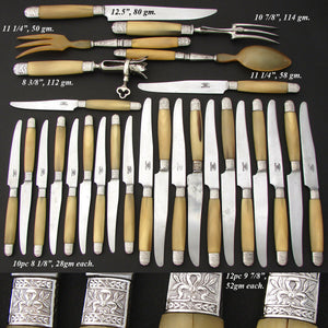 Antique French Empire Style 27pc Dinner Knife Set, Genuine Horn & Silver Handles