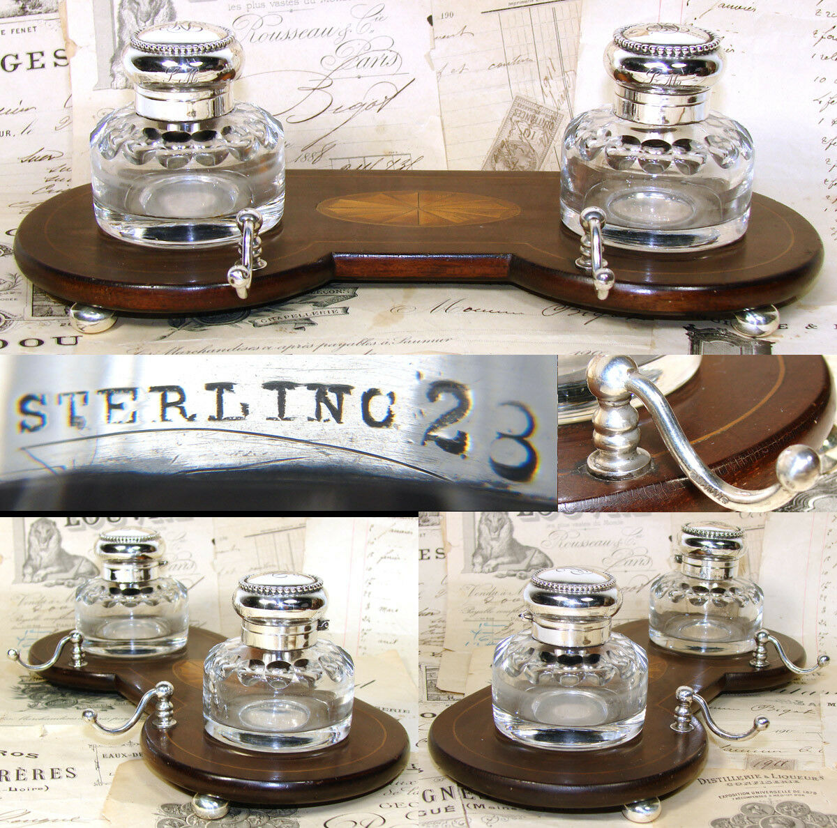 "Antique 9.75"" Double Inkwell, Sheraton Style Inlaid Inkstand, Sterling Silver"