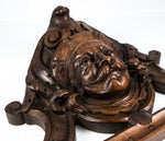 Antique Carved Black Forest or French Figural Corbel, Mount for Mirror Top, Door
