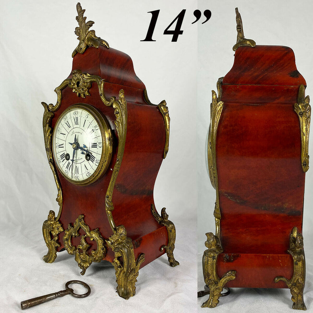 "Superb Antique French Boulle Rouard Mantel Clock, 14"" Tall, Working and Complete"