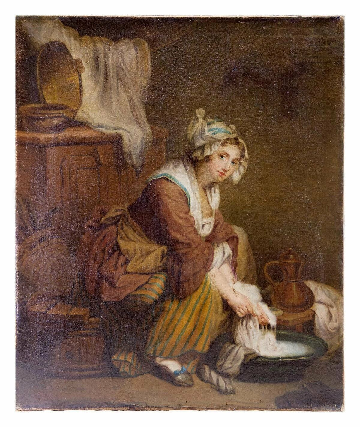 "Antique c.1830-50 Oil Painting on Linen Canvas, Laundress ""apres"" GREUZE"