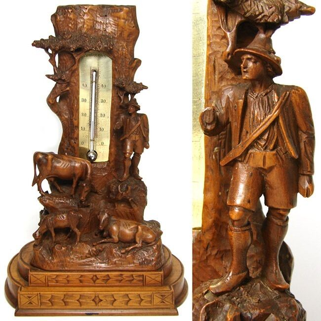 "Antique Black Forest 10"" Thermometer Stand: Pastoral with Cows, Calf & Herder"