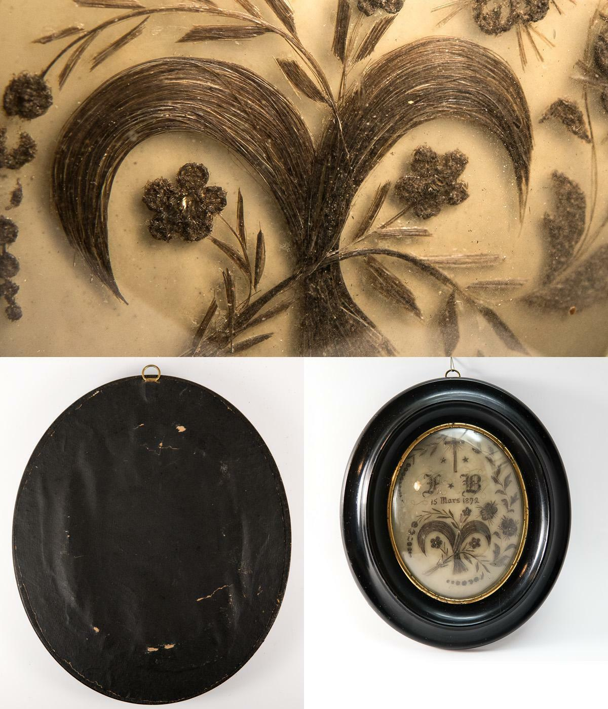 "Antique French Hair Art Mourning Icon, 8.5"" x 7"" Oval Frame, Blond, dated 1872"