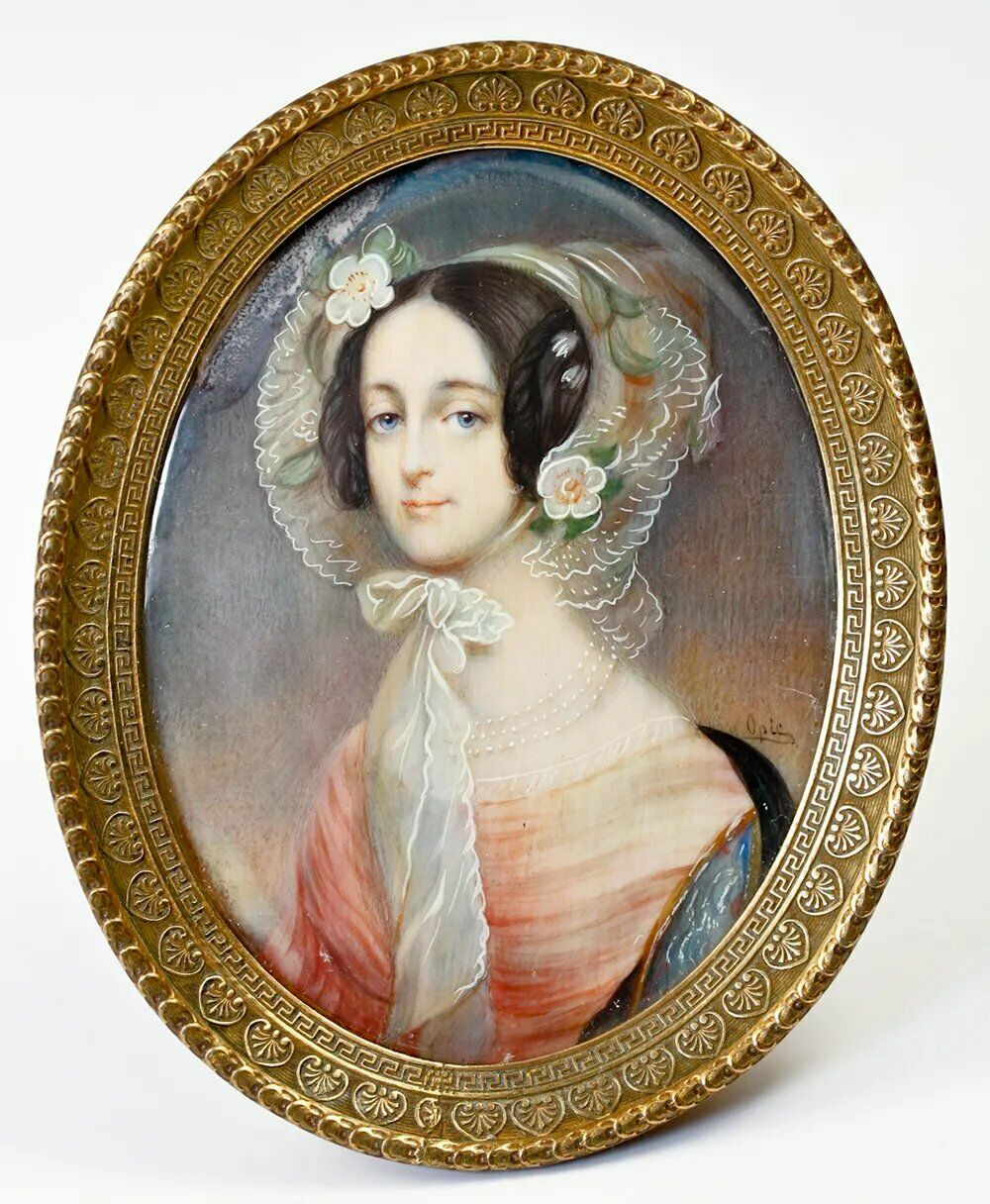 Antique Signed Portrait Miniature in Easel Frame, Beautiful Young Woman, Bonnet