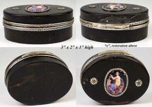 "Fine Antique French 3"" Oval Table Snuff Box, Bonbon, Kiln-fired Enamel Portrait"