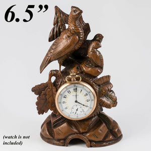 Antique Carved Black Forest Pocket Watch Holder, Stand, Animalier Era Game Hen