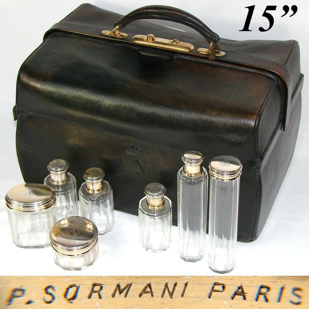 Rare Antique P. SORMANI Travel Case, Valise, Crown Engraved Sterling Silver Jars