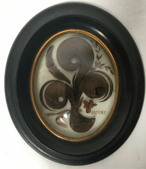 "Antique French Hair Art Memento, Mourning Icon, in 8.5"" x 7"" Oval Wood Frame"