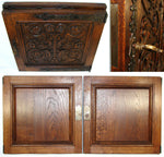 "PAIR Antique Victorian 20"" Carved Architectural Furniture Door Panels, Gothic"