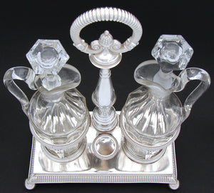 "Antique French Louis Philippe Sterling Silver 13.5"" Oil & Vinegar Cruet Stand"