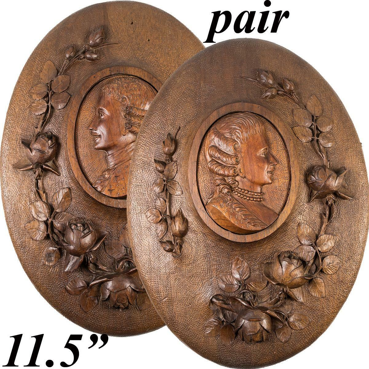 Pair: Hand Carved Wood Antique French Portrait Plaques, with Roses - Unique