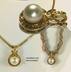 Vintage 14k Gold, Pearl and Diamond Pendant, Hinged Enhancer for Necklace