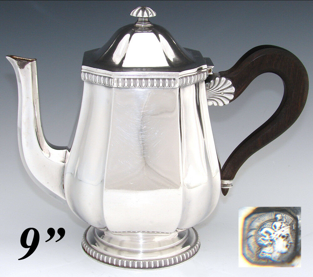 "Antique French Sterling Silver 9"" Coffee or Tea Pot, Teapot, Seashell Accents"