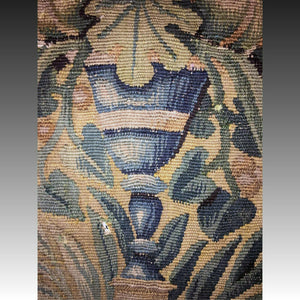 "Antique Flemish Tapestry Fragment, Panel, Chalice or Goblet & Leaves, 10.5"" Sq."