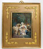 "Lovely Antique 19th c. Signed 7"" Miniature Painting in Dore Bronze French Frame"