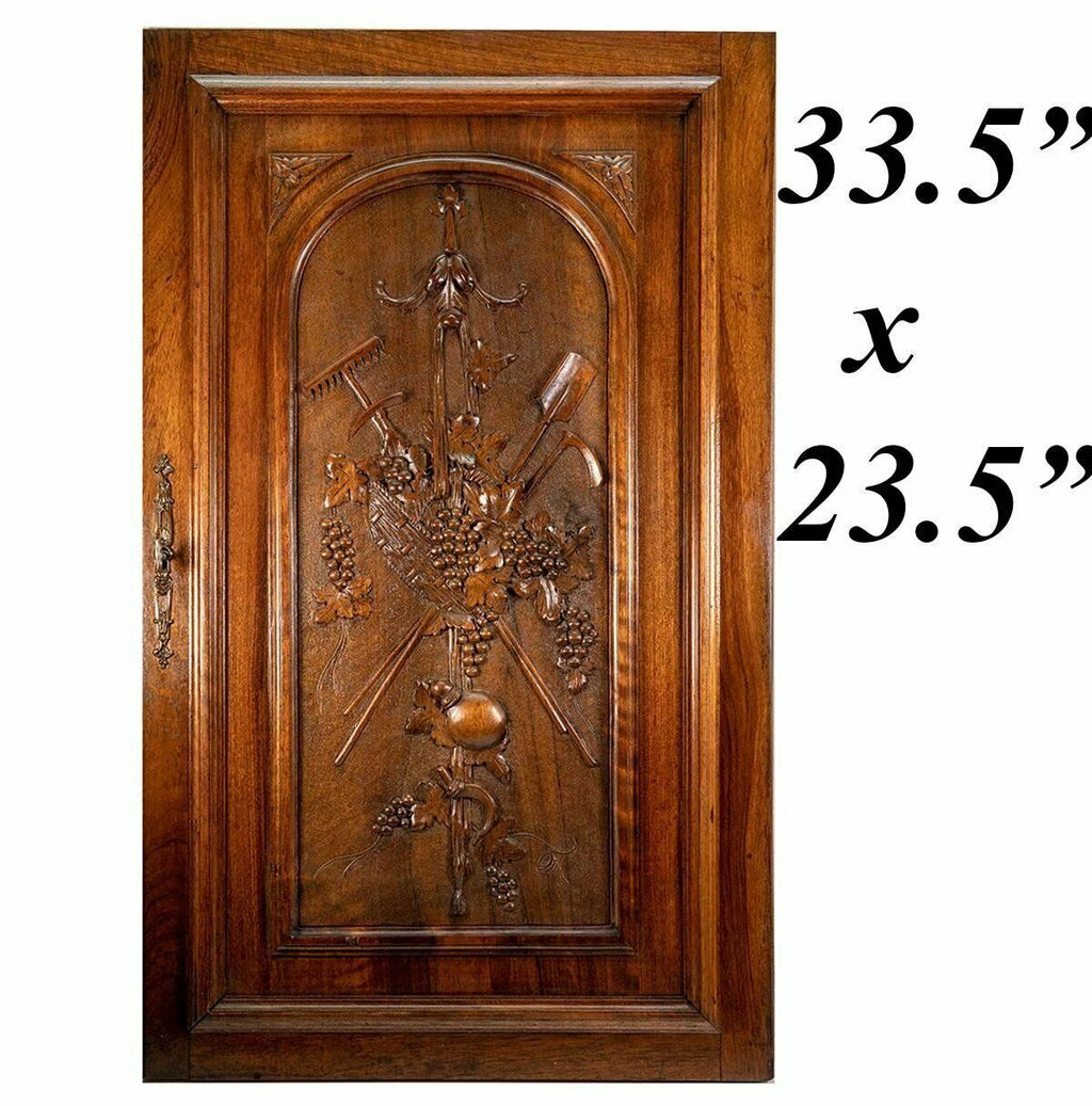 "Antique Country French HC Walnut Wood Cabinet Door w Lock, Key, 33.5"" x 23.5"""