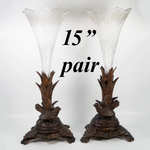 "Pair (2) Antique HC Black Forest Epergne Stands, Glass Inserts, 16"" Tall, Birds"