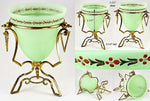 "Antique French Opaline Vase in Ormolu Casement, 8.5"" Tall, Enameled Green Glass"