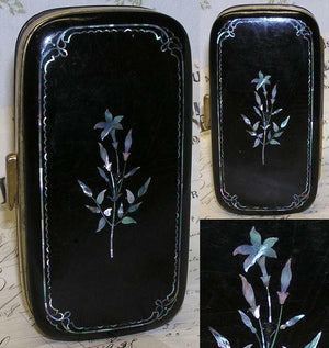 Fab Antique Victorian Papier Mache Cigar Case, Mother of Pearl Inlay & Monogram