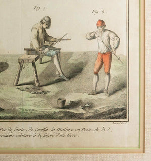 Antique Hand Painted Intaglio Print, in Frame, Glassmakers, Diderot & d'Alembert