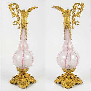 Antique French Perfume Ewer, Flask or Pitcher, Clichy Glass, Opaline White, Pink