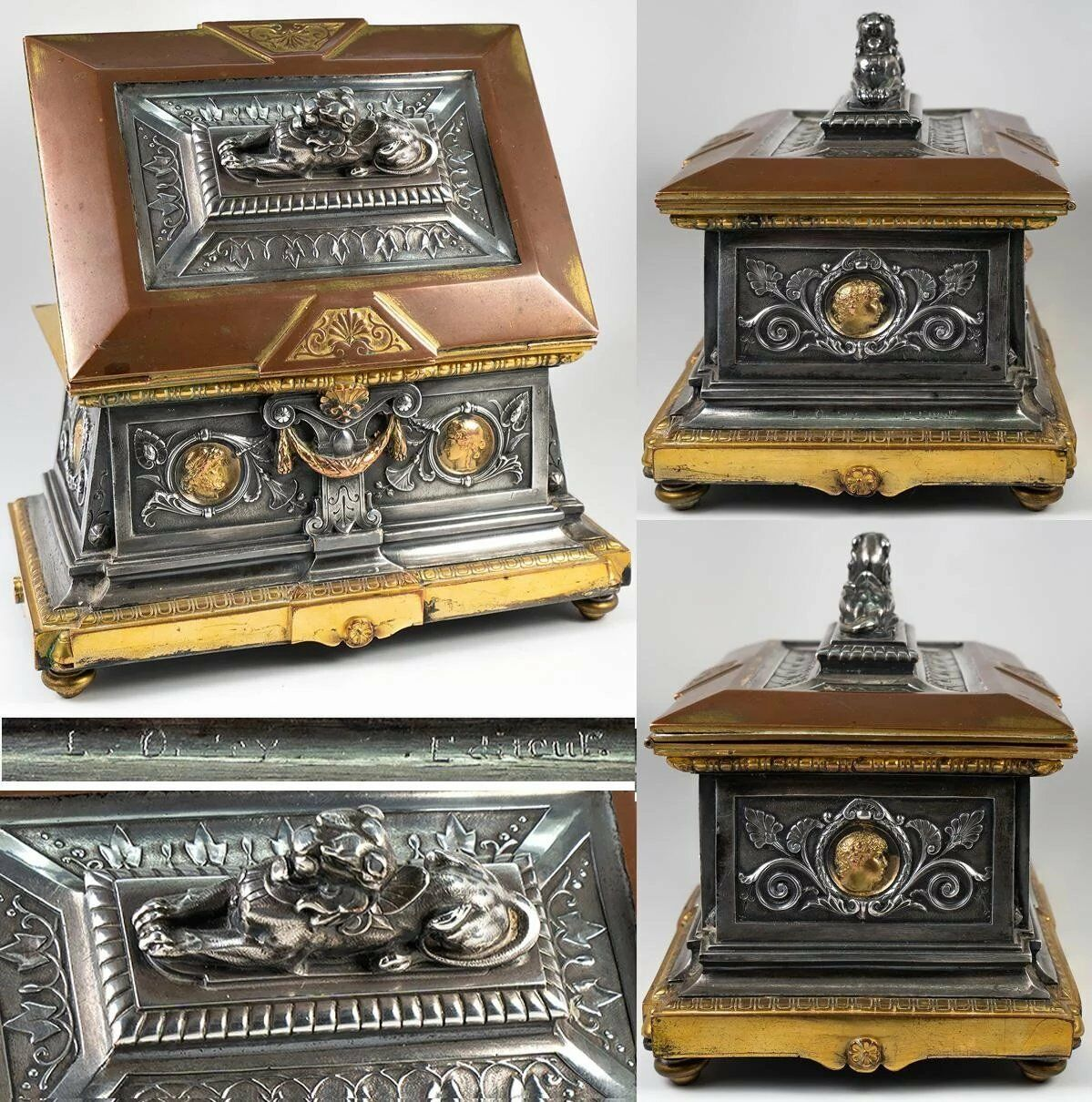 "19th c. French Bronze Jewelry Box, 8"" Casket, Foundry & Sculptor Léopold OUDRY"