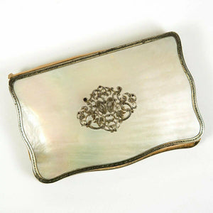 Antique French Carnet du Bal, Nécessaire, Mother of Pearl, Sterling Silver Book