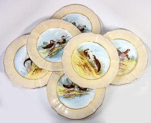 "Antique Hand Painted French M. Redon LIMOGES 6pc 8.75"" Game Bird Plate Set, Gold"
