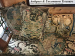 Antique French c.1600s Fine Needlepoint Tapestry Sampler, Frame or Throw Pillow