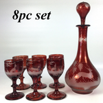 Antique Bohemian Ruby Flash and Engraved Liqueur Service, Decanter, 6 Cordials