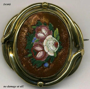 Antique Goldstone Micro Mosaic Brooch, Floral - Complete, no damage Micromosaic