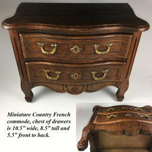 "Antique Country French 10.5"" Miniature Commode, Drawers, Ebeniste Apprentice"
