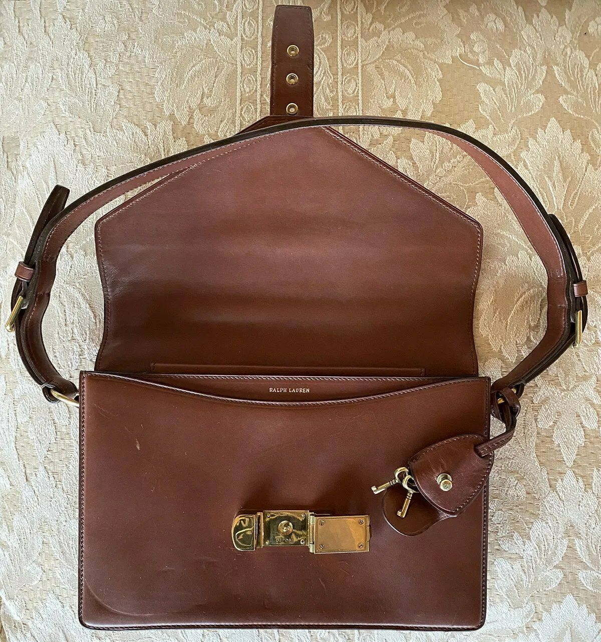 Vintage Ralph Lauren Saddle Leather Purse, Bag, Lock & Keys, Orig Tag: $2600
