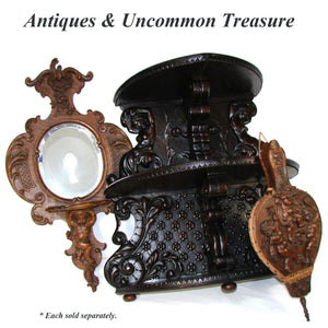 "EXQ Antique Victorian Era Carved Walnut 32"" Wall Mirror & Shelf, Ornate, Cherub"