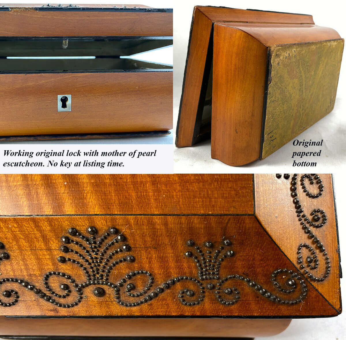 Early 1800s Antique French Lemonwood Sewing Casket, Box, Coffret, Steel Pique