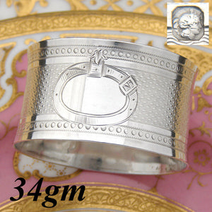 Antique French Sterling Silver Napkin Ring, Guilloche Style Decoration, no Monog