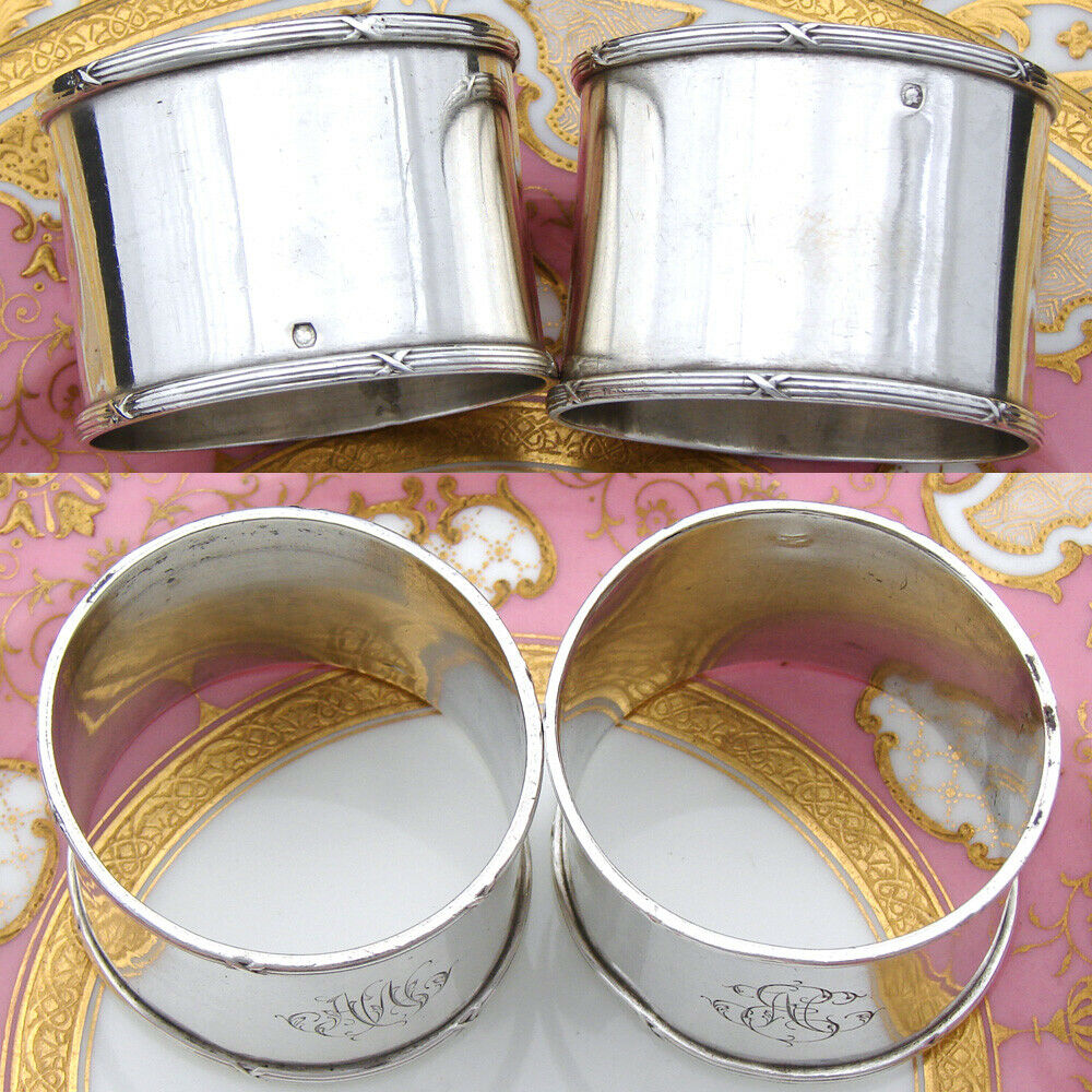 "Antique French 800 (nearly sterling) Silver 2"" Napkin Ring PAIR, Ribbon Borders"
