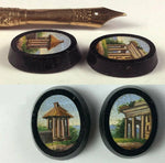 Antique Victorian era Micro Mosaic Plaque, Pair for Earrings, Roman Ruins