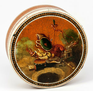 Antique 1700s French Snuff Box, Vernis Martin & Miniature Painting: Love Symbols
